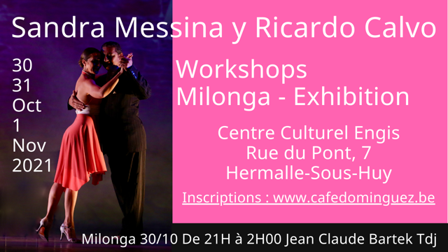 Stage Sandra Messina y Ricardo Calvo 30, 31 Octobre et 1 Novembre 2021